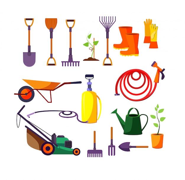 Insieme dell'illustrazione degli strumenti di giardinaggio Vettore gratuito