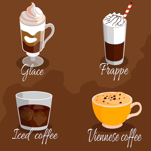 Insieme dell'illustrazione dei tipi di caffè Vettore gratuito