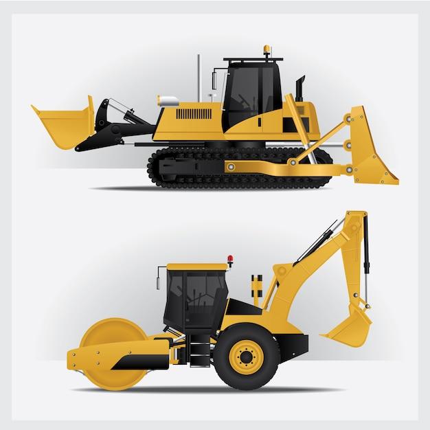 Insieme dell'illustrazione dei veicoli di costruzione Vettore gratuito