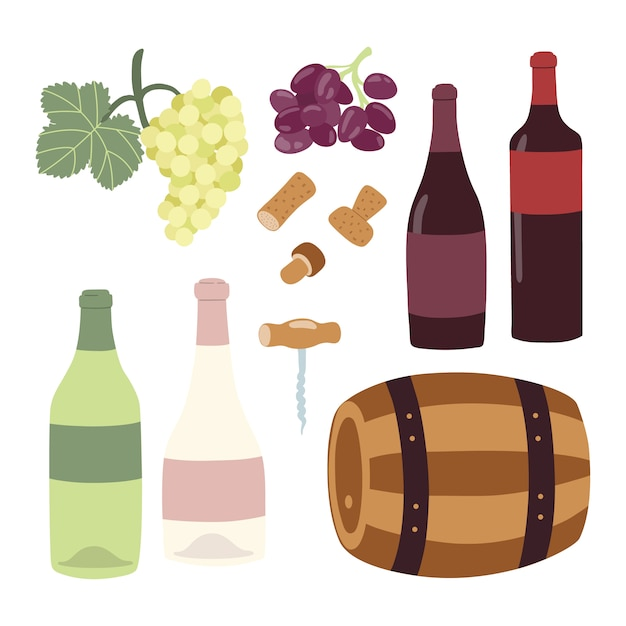Insieme dell'illustrazione del disegno della mano di vinificazione. Vettore Premium
