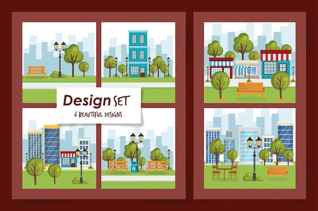 Insieme dell'illustrazione del paesaggio del parco di scene Vettore Premium