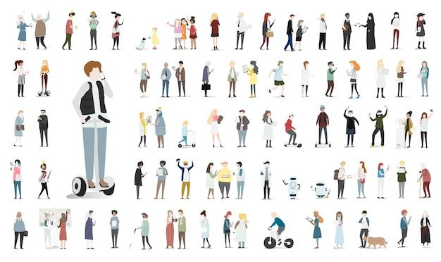 Insieme dell'illustrazione del vettore umano dell'avatar Vettore gratuito