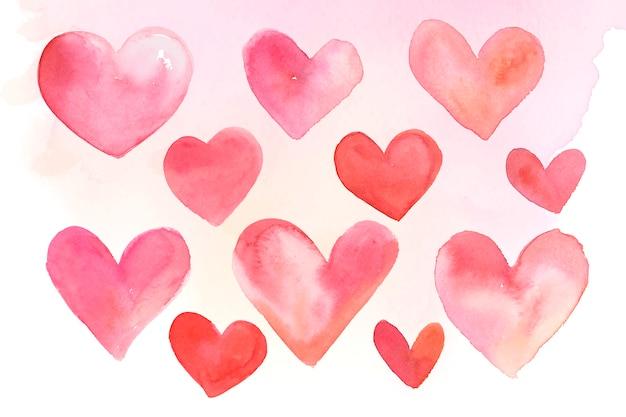 Insieme dell'illustrazione dell'acquerello delle icone del cuore Vettore gratuito