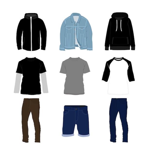 Insieme dell'illustrazione dell'articolo di stile di modo dei vestiti e dei pantaloni Vettore Premium