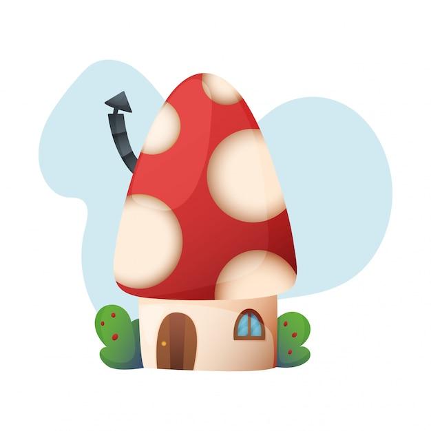 Insieme dell'illustrazione della casa sull'albero leggiadramente del fumetto di vettore della casa di fantasia e del villaggio dell'alloggio del playhouse di favola dei bambini isolato Vettore Premium