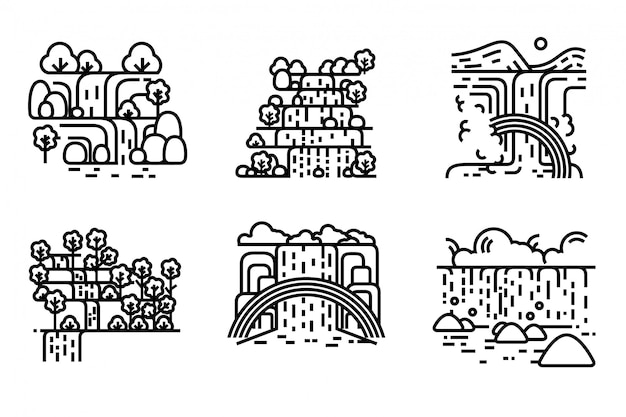 Insieme dell'illustrazione della cascata modificabile Vettore Premium