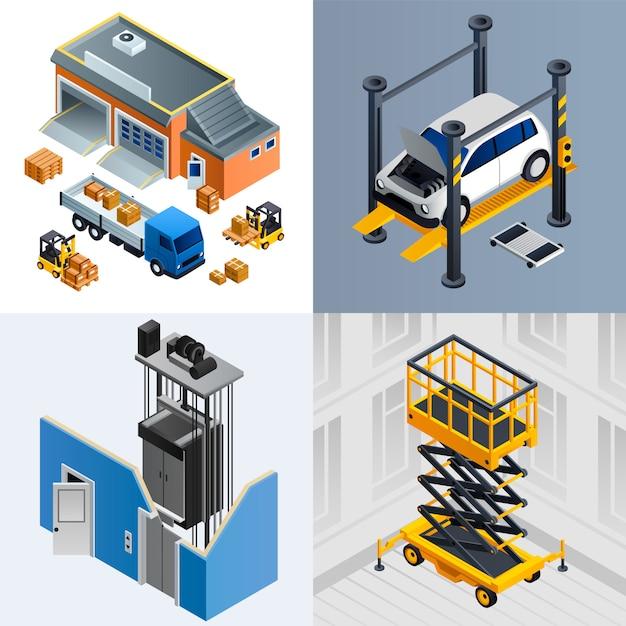 Insieme dell'illustrazione della macchina di sollevamento. set isometrico della macchina di sollevamento Vettore Premium