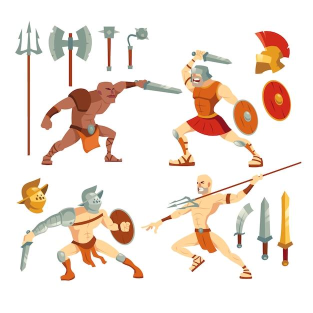 Insieme dell'illustrazione delle armi e dei gladiatori Vettore gratuito
