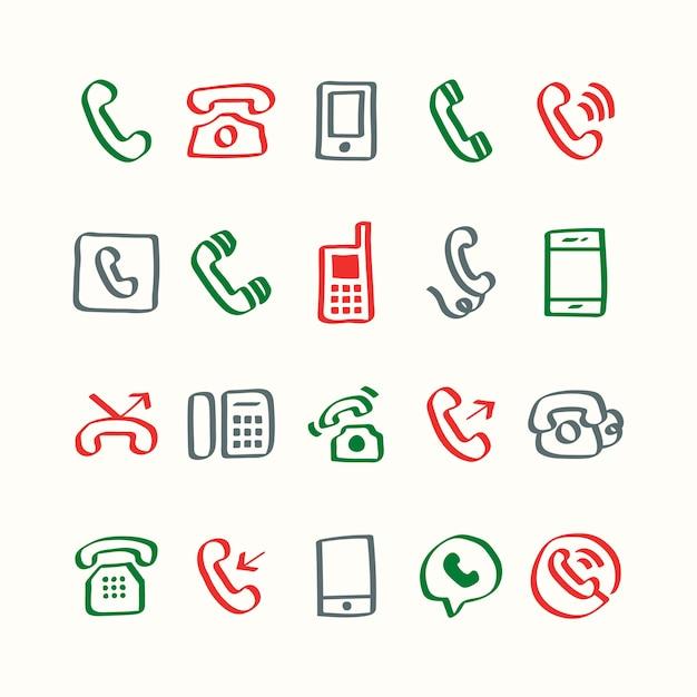 Insieme dell'illustrazione delle icone del telefono Vettore gratuito