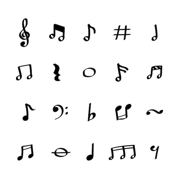 Insieme dell'illustrazione delle icone della nota di musica Vettore gratuito