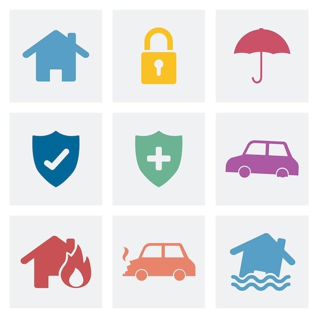 Insieme dell'illustrazione delle icone di sicurezza domestica Vettore gratuito