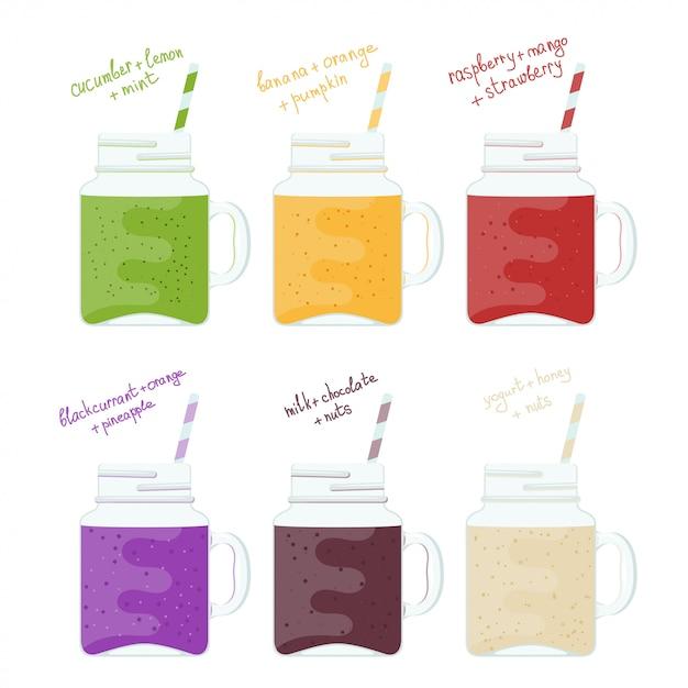 Insieme dell'illustrazione di barattoli di vetro con i frullati variopinti. cibo sano naturale bevanda di vitamine frullato Vettore Premium