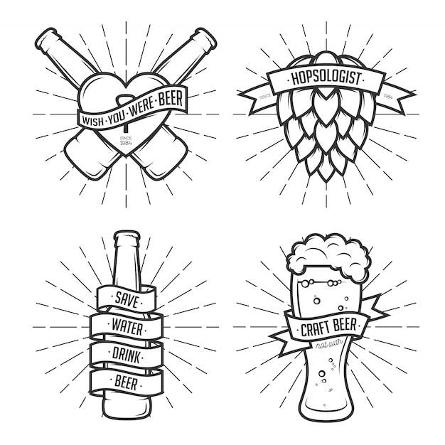 Insieme dell'illustrazione di clipart della birra. Vettore Premium