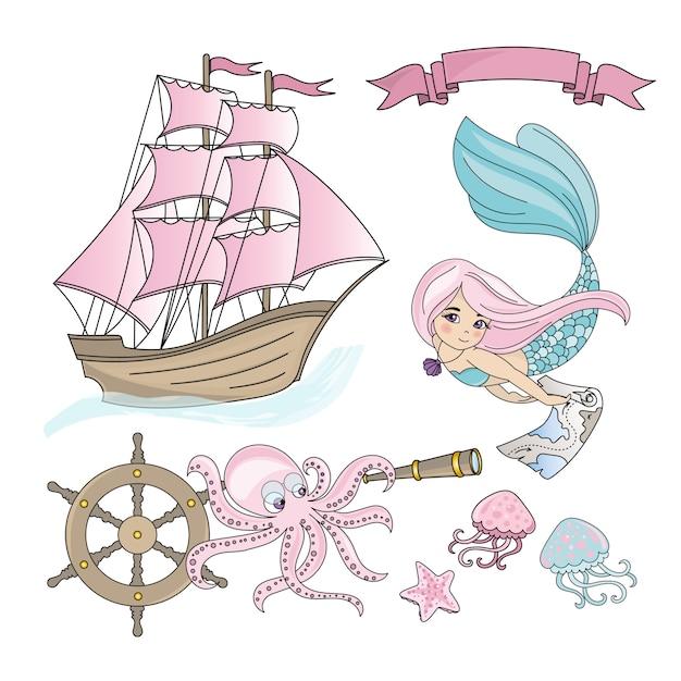 Insieme dell'illustrazione di colore di viaggio marittimo della nave di mermaid per la stampa Vettore Premium