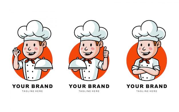 Insieme dell'illustrazione di logo del cuoco unico del fumetto per il ristorante Vettore Premium