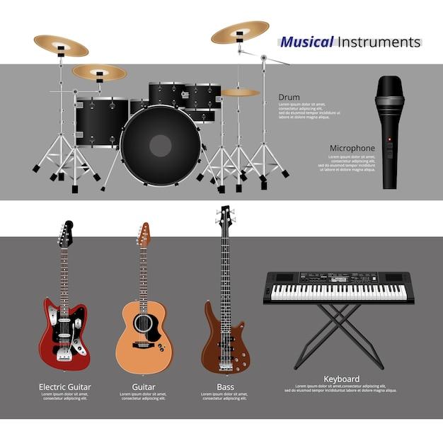 Insieme dell'illustrazione di vecctor degli strumenti musicali Vettore Premium