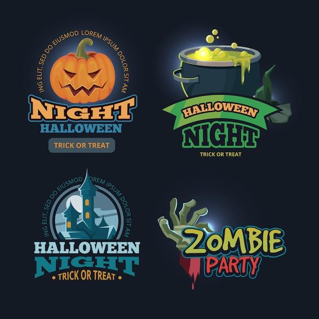 Insieme dell'illustrazione di vettore dei distintivi di halloween Vettore Premium