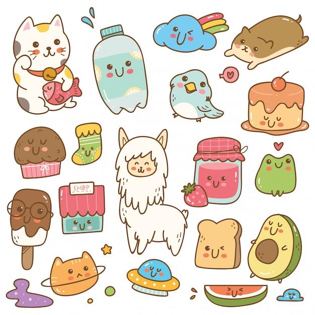 Insieme dell'illustrazione di vettore di doodle di kawaii Vettore Premium