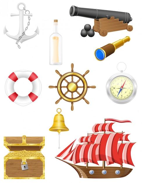 Insieme dell'illustrazione di vettore di elementi antichi mare Vettore Premium