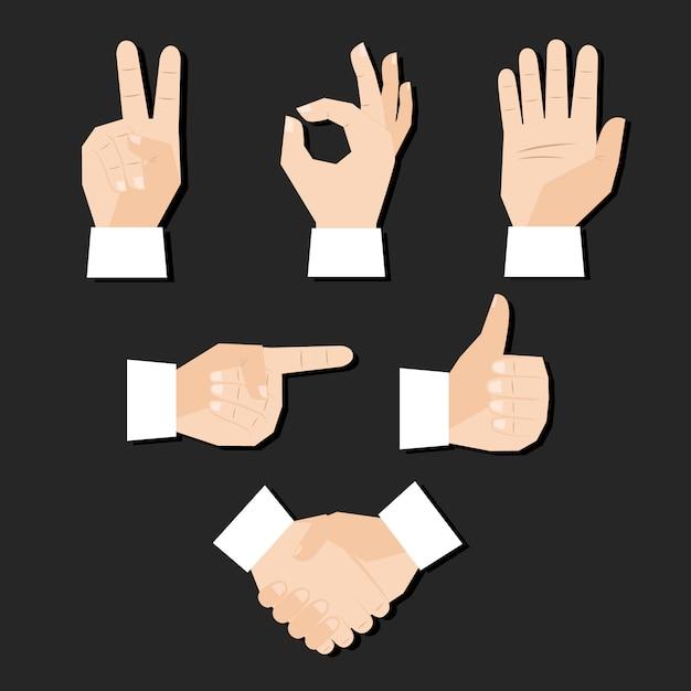 Insieme dell'illustrazione di vettore di gesti del dito delle mani Vettore gratuito