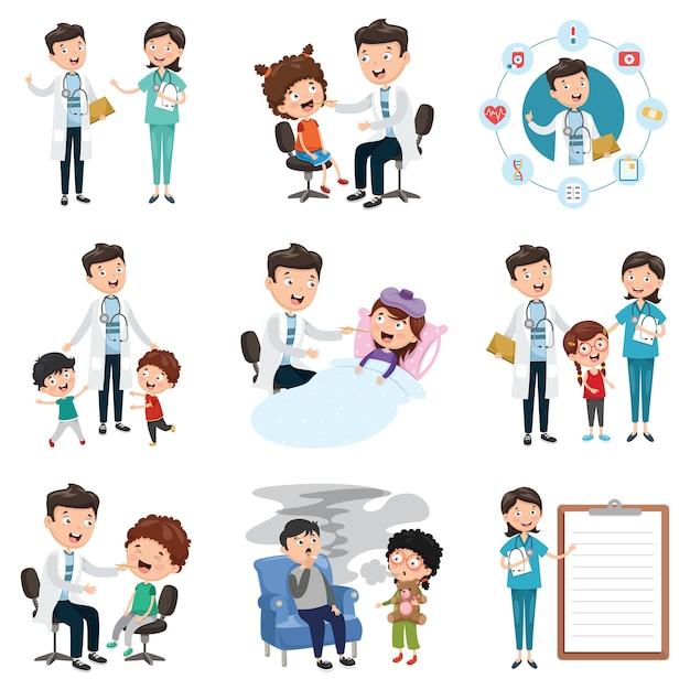 Insieme dell'illustrazione di vettore di medico e di sanità Vettore Premium
