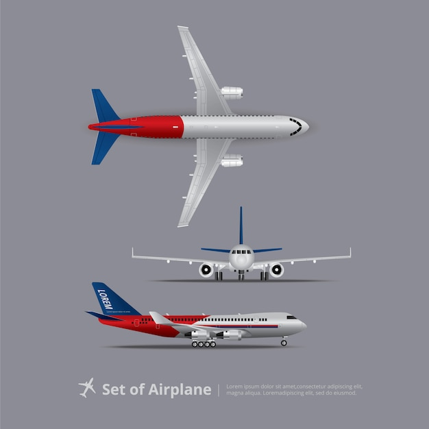 Insieme dell'illustrazione di vettore isolata aeroplano Vettore Premium