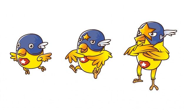 Insieme dell'illustrazione isometrica gialla di evoluzione del carattere dell'eroe canarino dell'uccello, con fondo bianco Vettore Premium