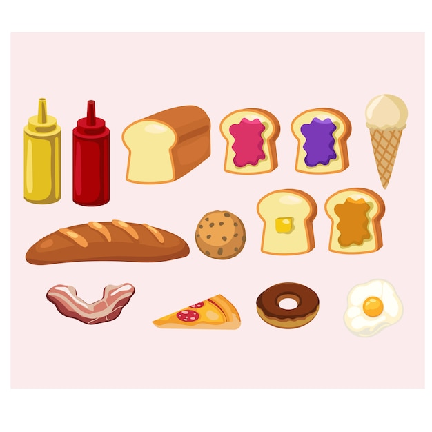 Insieme dell'illustrazione sveglia dell'alimento dei cartoni animati Vettore Premium