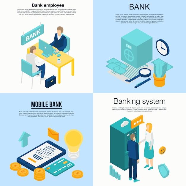 Insieme dell'insegna degli impiegati della banca, stile isometrico Vettore Premium