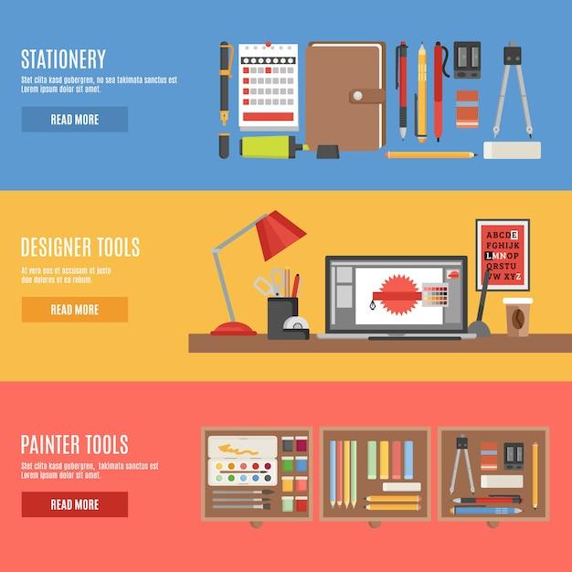 Insieme dell'insegna degli strumenti del pittore e del progettista Vettore gratuito