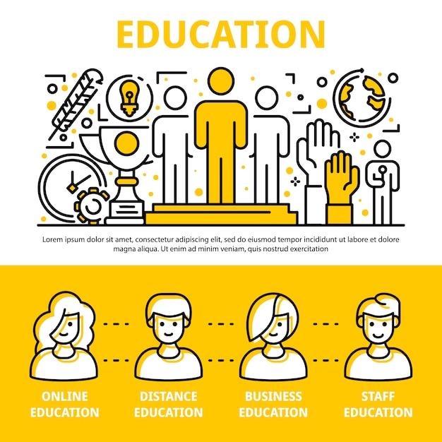 Insieme dell'insegna di addestramento di istruzione del personale, stile del profilo Vettore Premium
