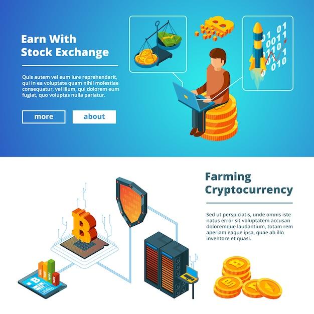 Insieme dell'insegna di affari di criptovaluta, insieme isometrico dell'insegna di estrazione di monete della società di soldi digitali cripto di ico blockchain Vettore Premium