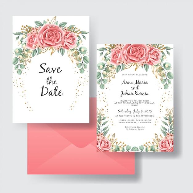 Insieme dell'invito di nozze di bellezza rosa rosa pesca Vettore Premium