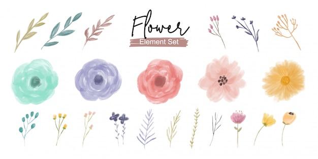 Insieme dell'ornamento dell'elemento del fiore e del fogliame dell'acquerello Vettore Premium