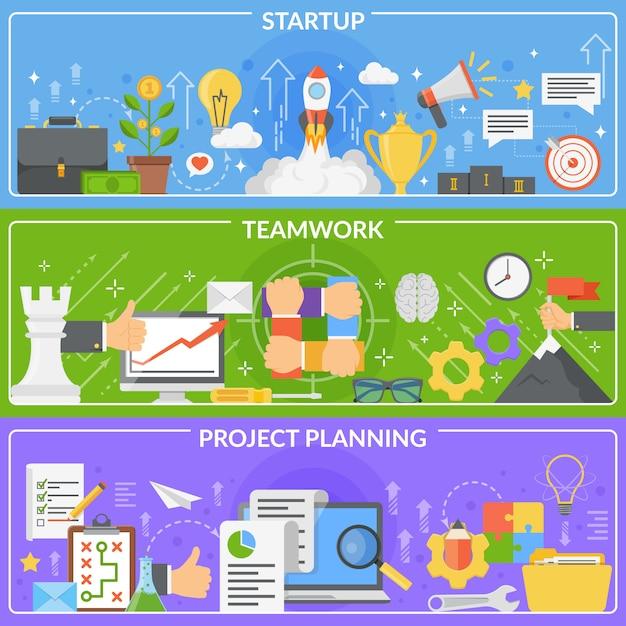 Insieme della bandiera di concetto di sviluppo startup Vettore gratuito
