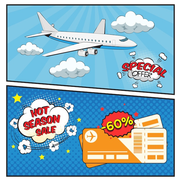 Insieme della bandiera di stile comico di vendita di biglietti aerei Vettore gratuito