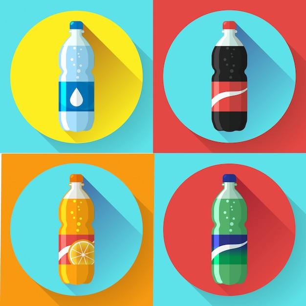 Insieme della bottiglia di plastica delle immagini di coca-cola, sprite, illustrazione piana di vettore della soda arancio di fantasia Vettore Premium