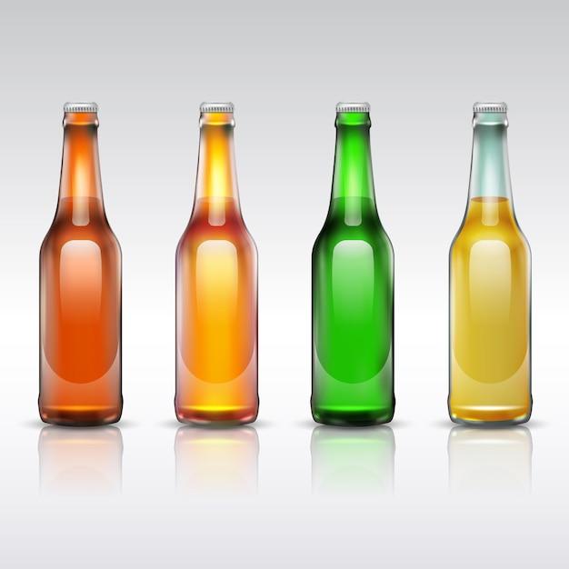 Insieme della bottiglia di vetro di birra isolato su bianco Vettore Premium