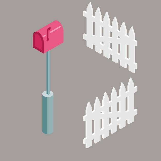 Insieme della cassetta delle lettere rossa isometrica e delle reti fisse per l'illustrazione della casa suburbana. Vettore Premium