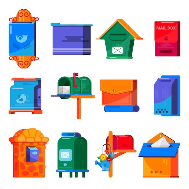 Insieme della cassetta postale della posta di vettore della cassetta postale o delle cassette postali postali postali delle cassette delle lettere Vettore Premium