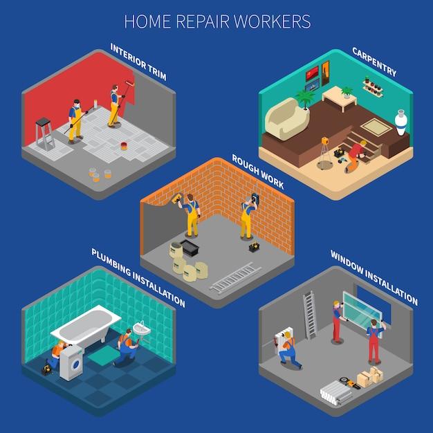 Insieme della composizione nella gente dell'operaio di riparazione domestica Vettore gratuito