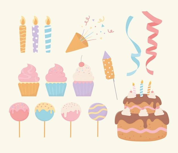 Insieme della decorazione del partito del nastro dei coriandoli delle candele del gelato del bigné della torta di compleanno Vettore Premium