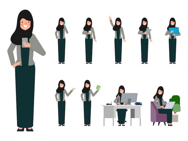 Insieme della donna araba dei uae nella posa differente. Vettore Premium