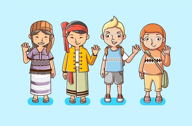 Insieme della gente con l'illustrazione varia di vettore della cultura multirazziale Vettore Premium