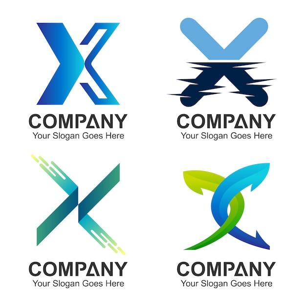 Insieme della lettera x logo concept Vettore Premium