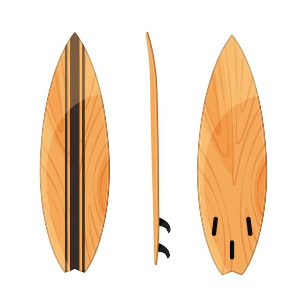 Insieme della posizione dei surf isolata su bianco. Vettore Premium