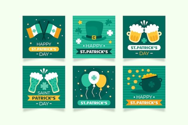 Insieme della posta del instagram di evento tradizionale irlandese di san patrizio Vettore gratuito