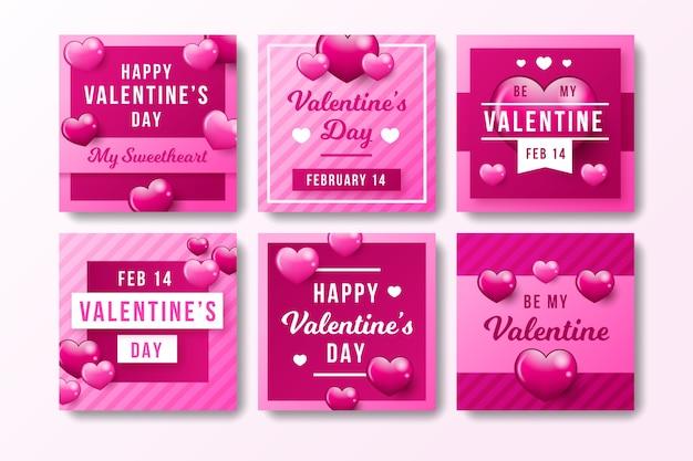 Insieme della posta del instagram di san valentino Vettore gratuito