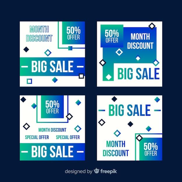 Insieme della posta del instagram di vendita di pendenza Vettore gratuito