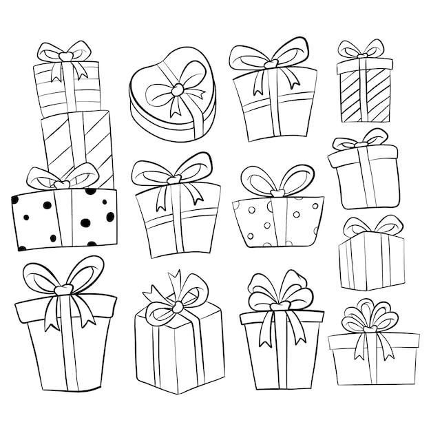 Insieme della raccolta del contenitore di regalo di compleanno con stile disegnato a mano o di scarabocchio su bianco Vettore Premium
